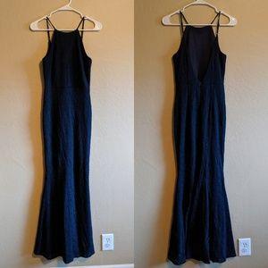 Lulu's Dresses - Lulu's Ephemeral Allure Navy Blue Lace Maxi Dress